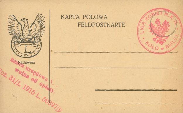 Karta polowa Legionów Polskich /Polona /Wikimedia
