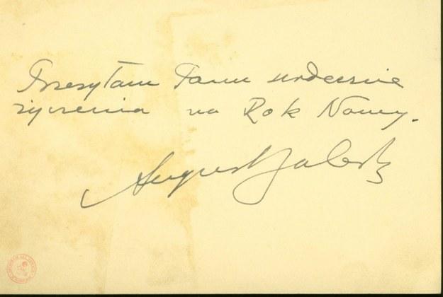 Karta z podziękowaniem za życzenia z podpisem Prezydenta Augusta Zaleskiego, 27 grudnia 1951r. /Archiwum Akt Nowych /