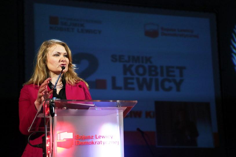 Katarzyna Piekarska podczas spotkania /Tomasz Gzell /PAP