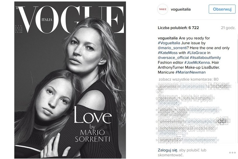 Kate Moss z córką na okładce Vogue'a /Vogue Italia Printscreen /INTERIA.PL