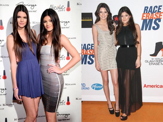 """Kendall i Kylie. W wieku 14 lat Kendall wzięła udział w pierwszej sesji zdjęciowej. Półnagie i przepełnione erotyzmem zdjęcia wywołały burzę. Nastolatka się jednak nie przejęła. """"Chcę być sławniejsza niż moja siostra Kim"""", wyznała. /Getty Images"""