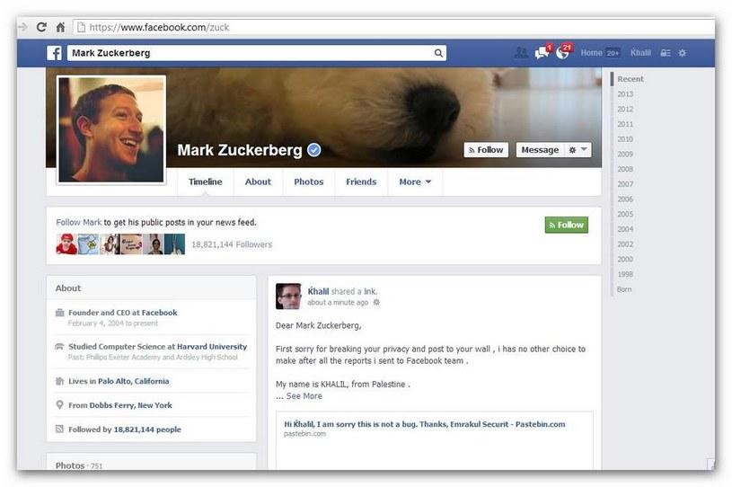 Khalil Shreateh znalazł sposób na umieszczenie wiadomości na profilu Marka Zuckerberga /Gadżetomania.pl