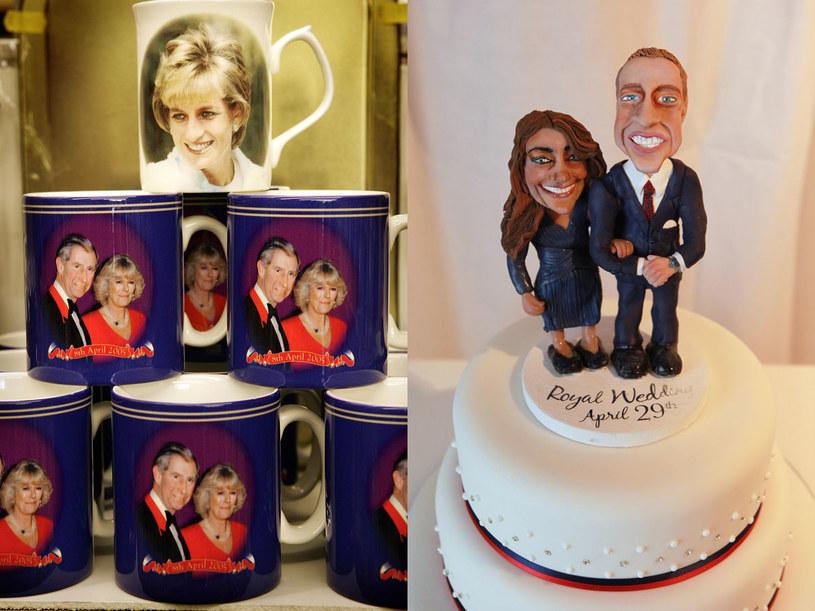 Kiedyś Diana, potem Camilla, teraz  Kate... Narzeczeni stali się najmodniejszym motywem kubeczków, pocztówek czy figurek, jakie można kupić w sklepach z pamiątkami /AFP