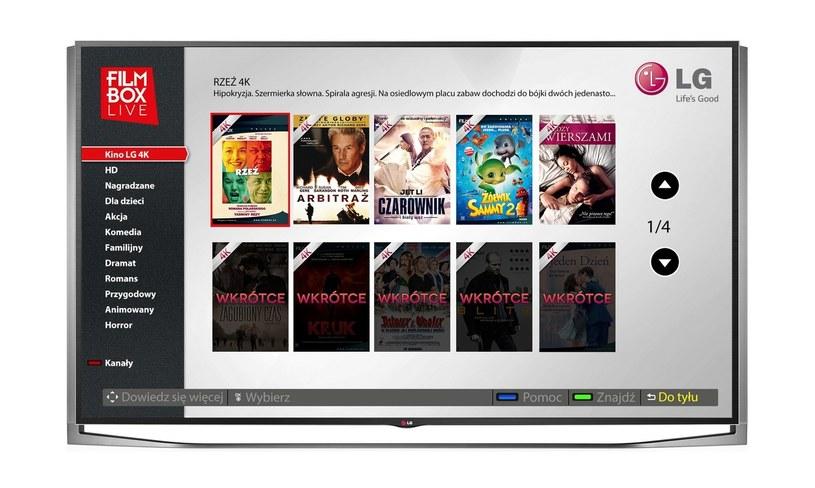 """Kino LG 4K"""" w serwisie VOD FilmBox Live pozwalającej na dostęp do obecnie największej w Polsce bazy filmów 4K /materiały prasowe"""