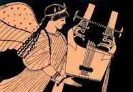 Kitara grecka, fragment attyckiego malowidła wazowego, V w. p.n.e. /Encyklopedia Internautica