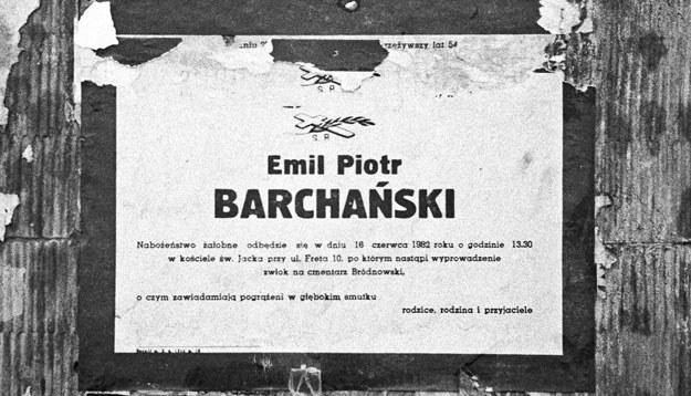Klepsydra z informacją o śmierci Emila Barchańskiego /Marek Carrot /Fotonova