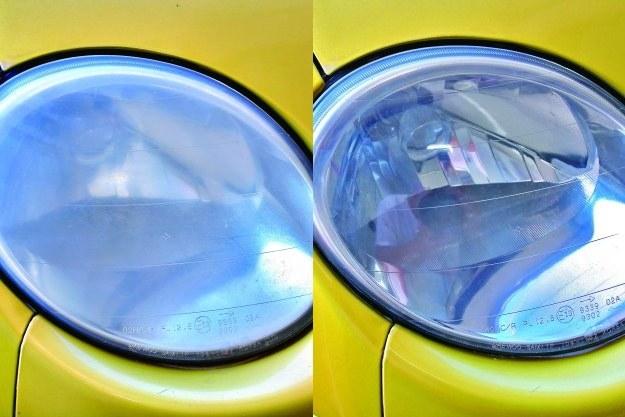 Klosz reflektoru przed polerowaniem (z lewej) i po (z prawej). /Motor