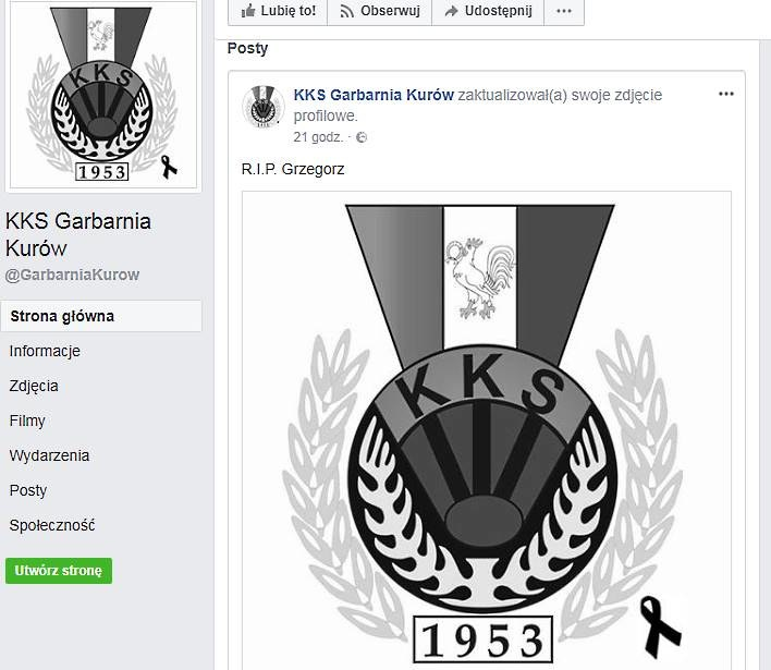 Klub jest w żałobie po tragicznej śmierci piłkarza; żródło: facebook /