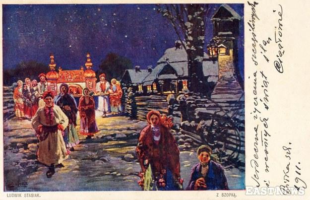 """Kolędnicy krakowscy, mal. Ludwik Stasiak, korespondencja z 1911 r. (wyd. dzieł sztuki """"Stella"""", Bochnia)"""
