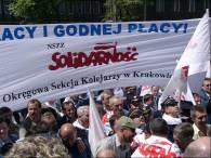 Kolejarze prostestowali dzisiaj w Warszawie, fot. Paweł Amarowicz /INTERIA.PL