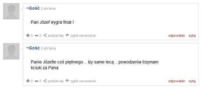 """Komentarz pod filmem z występu pana Józefa na castingu do """"Mam talent"""" /"""
