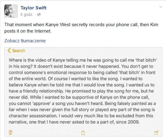 Komentarz Taylor Swift /