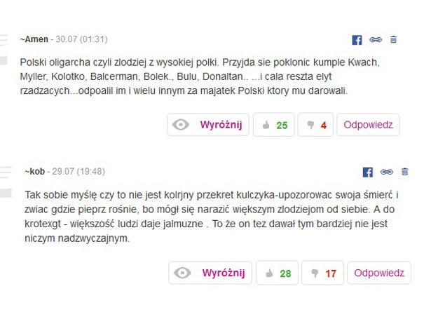 Komentarze, które pojawily się pod informacją o śmierci Jana Kulczyka /printscreen /INTERIA.PL