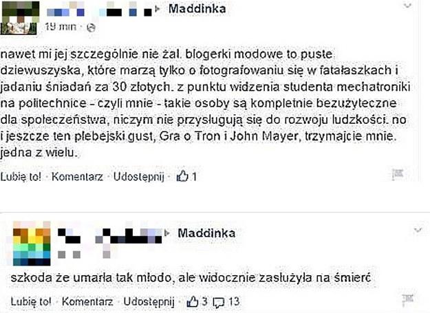 Komentarze, które pojawiły się w internecie po śmierci bloggerki Maddinki /printscreen/ Facebook/ Pomponik.pl /INTERIA.PL