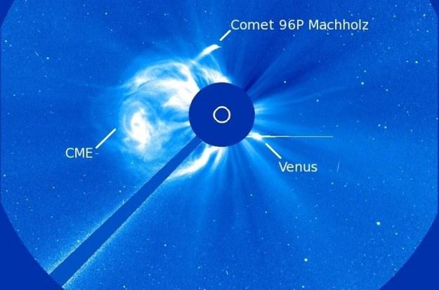Kometa 96P Machholz krąży wokół Słońca. SOHO zaoibserwowała ją już 3 razy.   Fot. NASA /materiały prasowe