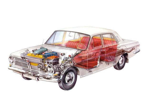 Komora silnikowa Wołgi ma osobne oświetlenie. /GAZ