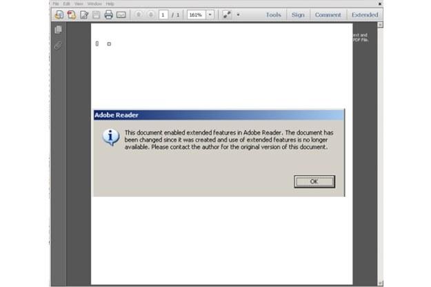 Komunikat o błędzie po otwarciu zarażonego pliku PDF /materiały prasowe
