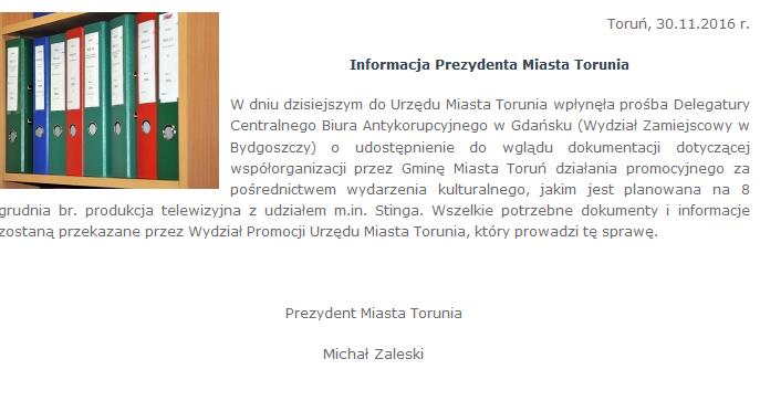 Komunikat Urzędu Miasta w Toruniu /