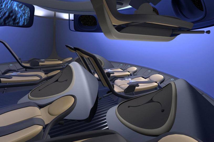 Koncepcja wnętrza komercyjnej wersji kapsuły CST-100 firmy Boeing. /materiały prasowe
