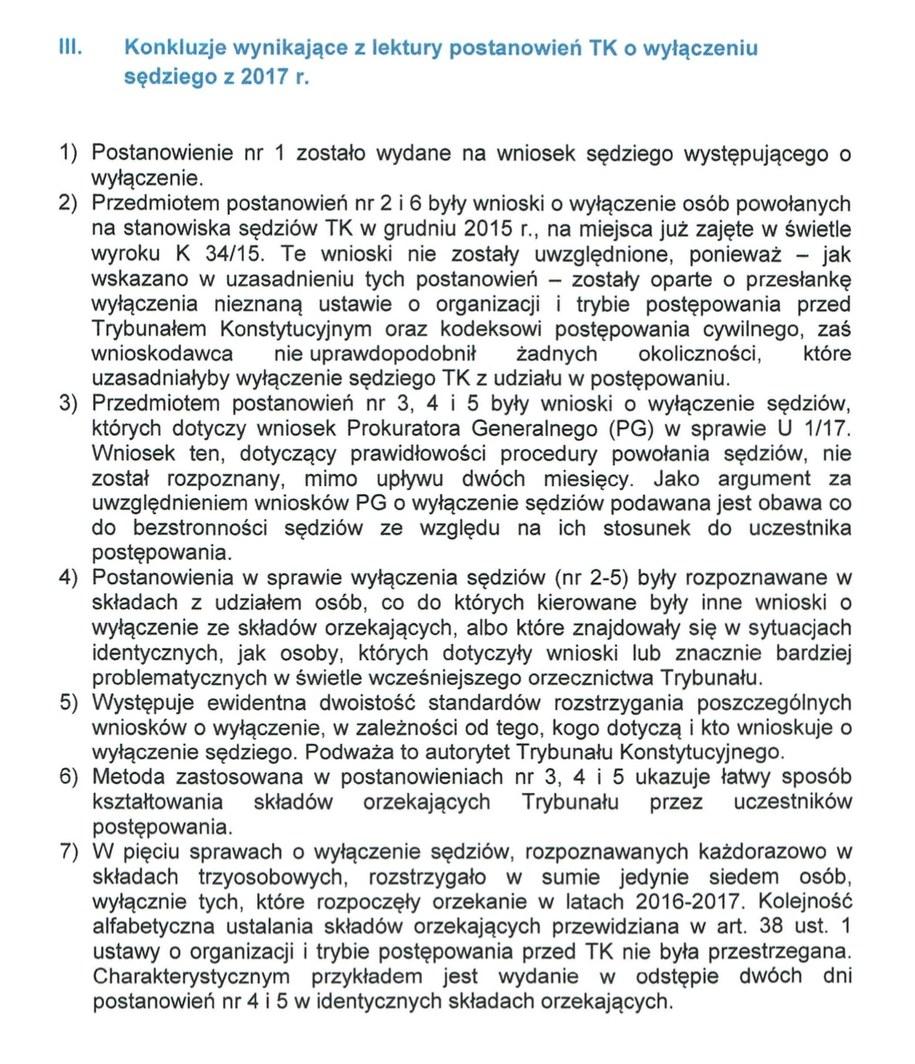 Konkluzje zawarte w analizie wiceprezesa TK, Stanisława Biernata /Zrzut ekranu
