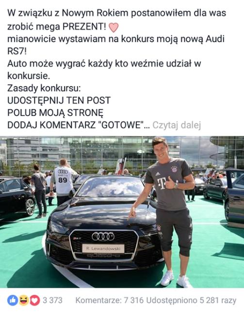 Konkurs na fałszywym koncie Roberta Lewandowskiego /