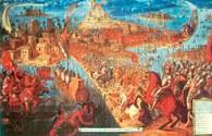 Konkwistadorzy, czyli hiszpańscy żołnierze pod dowództwem Cortésa szturmują w 1521 stolicę Az /Encyklopedia Internautica
