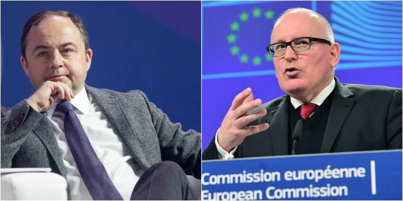 Konrad Szymański i Frans Timmermans, fot. Andrzej Grygiel, fot. AFP /Andrzej Grygiel /PAP