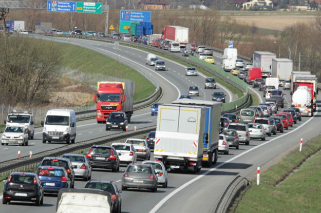 Korek na autostradzie A4 w stronę Katowic /PAP