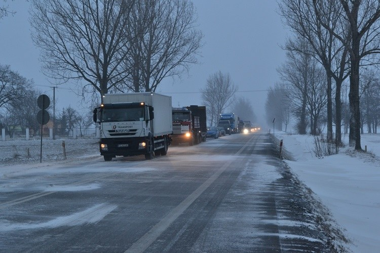 Korek na krajowej jedynce, gdzie nad ranem doszło do wypadku autokaru /Paweł Balinowski /RMF FM