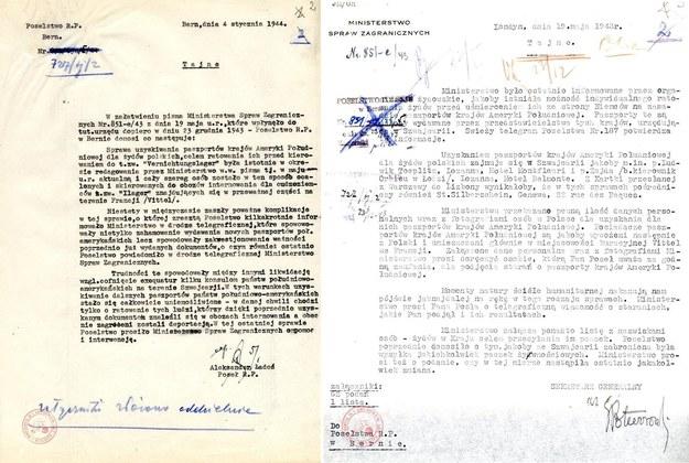 Korespondencja dyplomatyczna Aleksandra Ładosia, a także dokumenty Poselstwa w Bernie poświadczające jego działalność na rzecz ratowania Żydów z Holokaustu z zasobu Archiwum Akt Nowych /Archiwum Akt Nowych