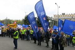 Kraków: Protest hutników obronie miejsc pracy