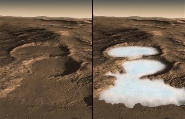 Kratery wypełnione lodem na Marsie /AFP
