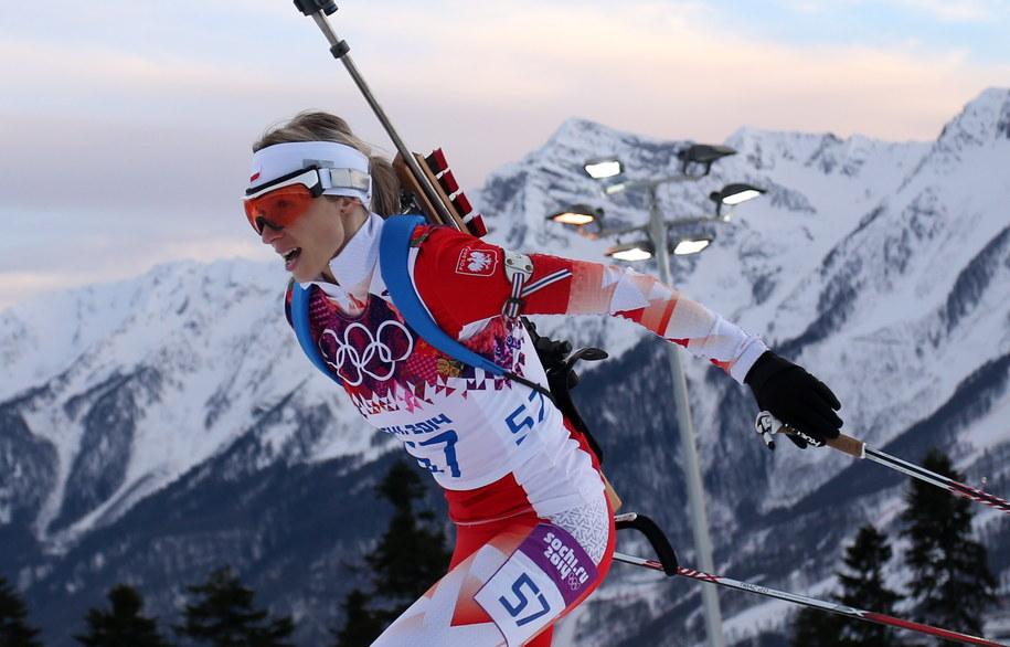 Krystyna Pałka na trasie biathlonowego biegu indywidualnego na 15 km /Grzegorz Momot /PAP