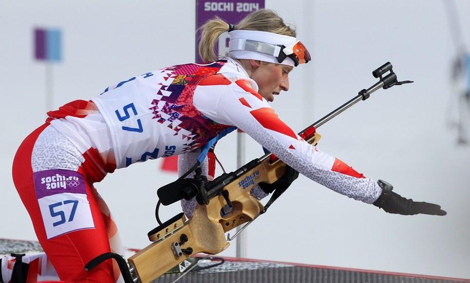 Krystyna Pałka na trasie podczas biegu indywidualnego kobiet na 15 km w biathlonie /Grzegorz Momot /PAP