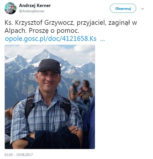 Ks. Krzysztof Grzywocz z diecezji opolskiej zaginął w Alpach. Od czwartku nie ma z nim kontaktu /Twitter