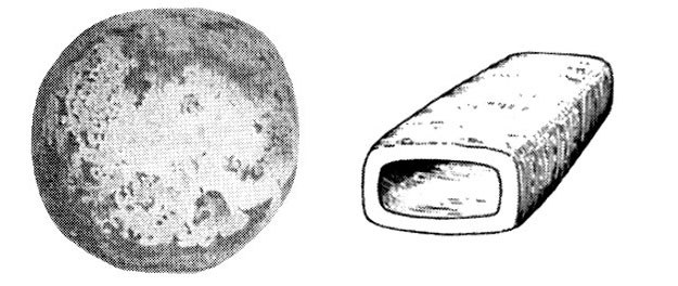 Kula odkopana w okolicy Laon we Francji oraz szkic rury odnalezionej w kamieniołomie w Saint-Jean de Livet. /materiały prasowe