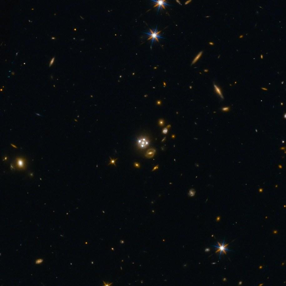 Kwazar HE0435-1223, widoczny w czterech obrazach w związku ze zjawiskiem ogniskowania optycznego na leżącej przed nim galaktyce /ESA/Hubble, NASA, Suyu et al. /materiały prasowe