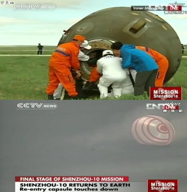 Lądowanie przebiegło zgodnie z planem – według doniesień załoga jest w dobrym stanie. Lądowanie było obserwowane z wielu śmigłowców, które w ciągu kilku minut od lądowania znalazły się obok kapsuły Shenzhou-10. /Kosmonauta