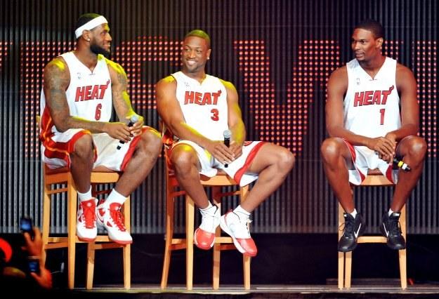 LeBron James, Dwyane Wade i Chris Bosh - nowa siła Miami Heat i NBA /AFP