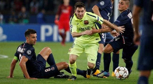Leo Messi, Marco Verratti i Thiago Motta /PAP/EPA/YOAN VALAT /PAP/EPA