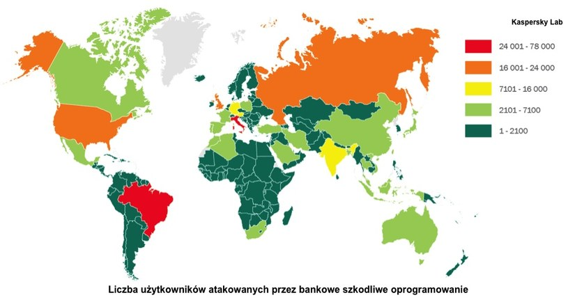 Liczba użytkowników zaatakowanych przez złośliwe oprogramowanie bankowe. /materiały prasowe