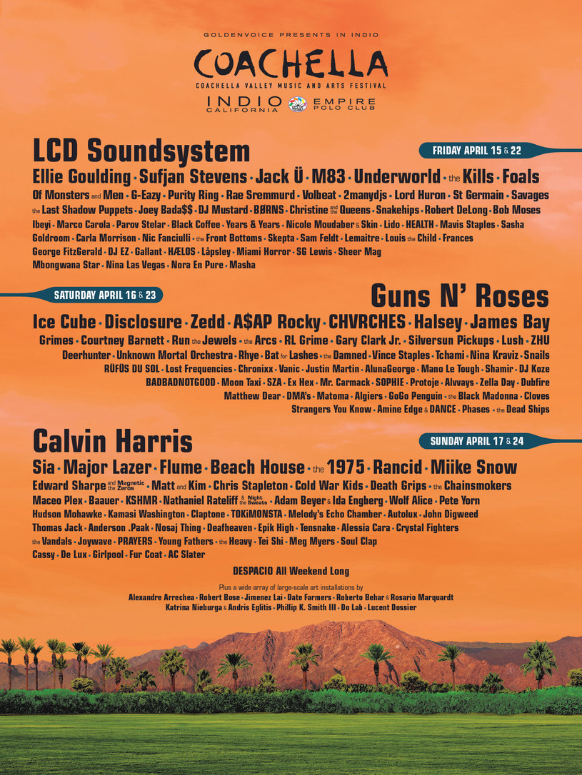 Line-up festiwalu Coachella /Oficjalna strona festiwalu