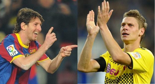 Lionel Messi i Łukasz Piszczek /AFP