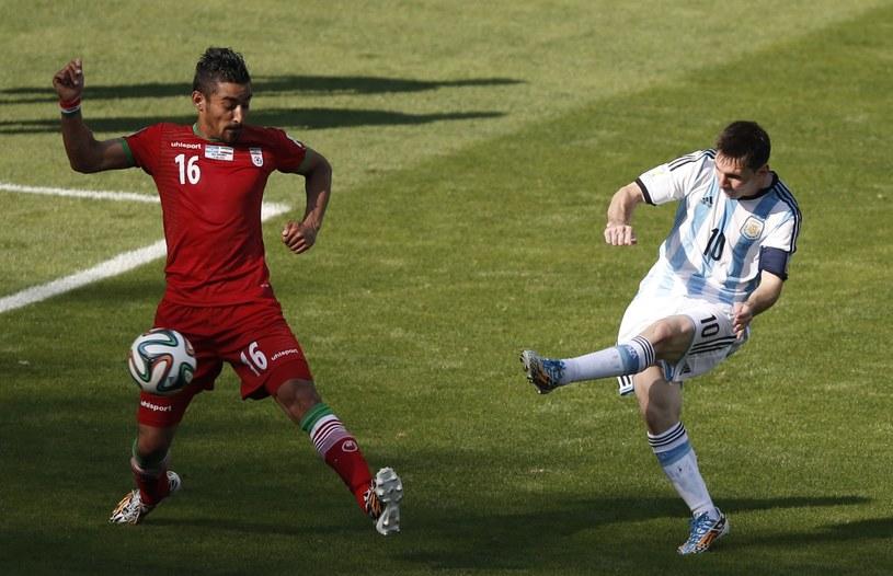 Lionel Messi strzela jedynego gola w meczu z Iranem /AFP