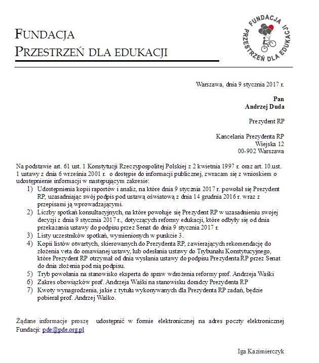 List jaki Przestrzeń dla Edukacji wystosowała do prezydenta /Przestrzeń dla Edukacjii /