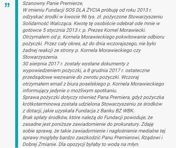 List ks. Jegierskiego, który trafił m.in. do Kancelarii Premiera i Kancelarii Prezydenta /http://niezalezna.pl /