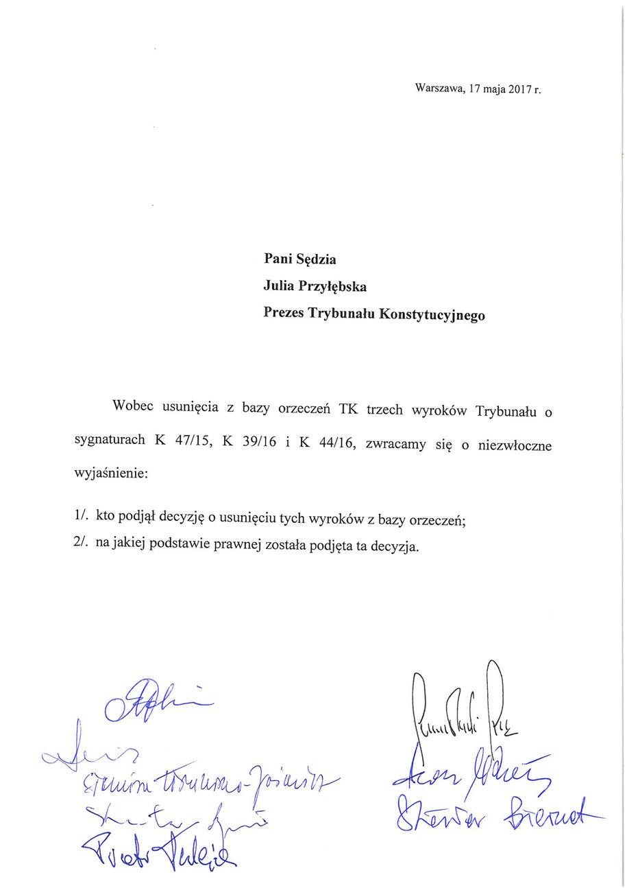 List, który sędziowie TK skierowali do prezes Julii Przyłębskiej /RMF FM