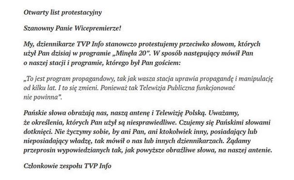 List otwarty dziennikarzy TVP info do prof. Glińskiego /Twitter