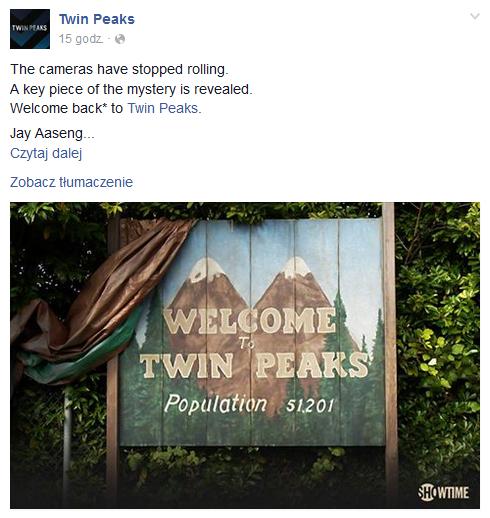 """Lista nazwiska pojawiła się na oficjalnym profilu """"Miasteczka Twin Peaks"""" na Facebooku /Facebook"""