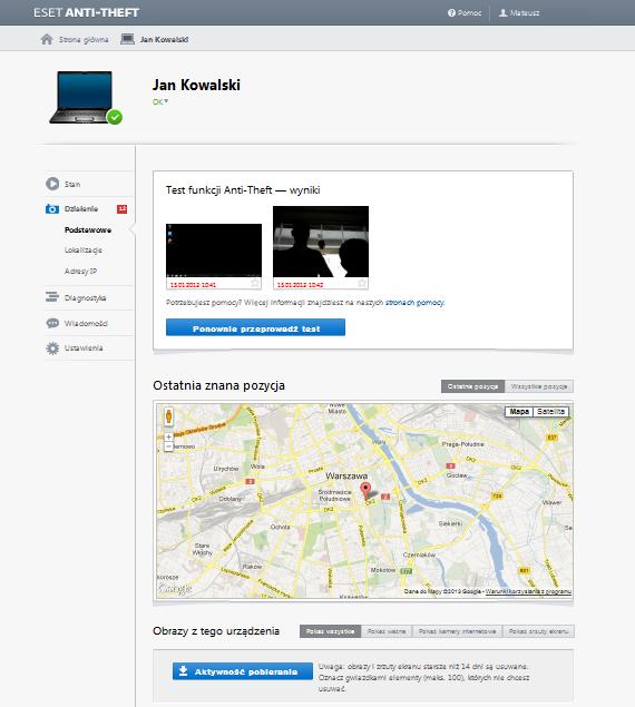 Lokalizacja laptopa z pomocą Eset Anti-Theft /materiały prasowe